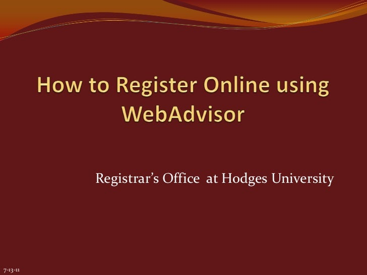 How to register on line using web advisor wi12