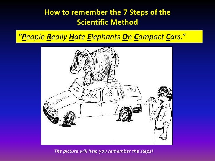 """How to remember the 7 Steps of the                Scientific Method""""People Really Hate Elephants On Compact Cars.""""        ..."""