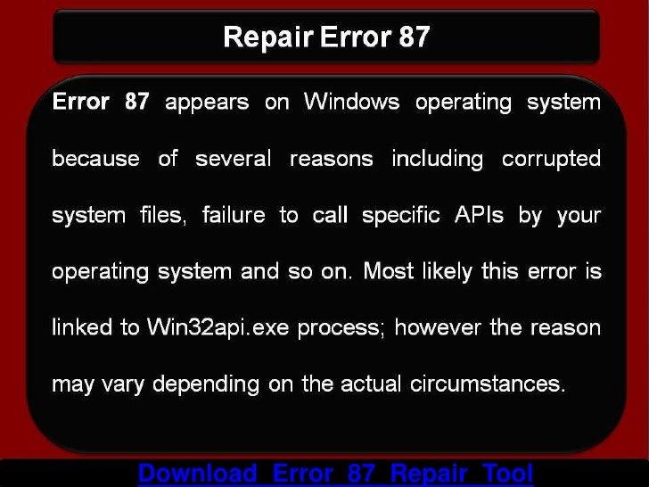 How To Repair Error 87