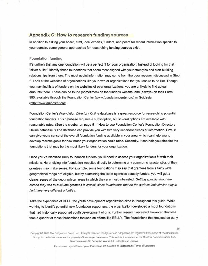 Appendix C: How to research funding sourcesIn addition to asking your board, staff, local experts, funders, and peers for ...