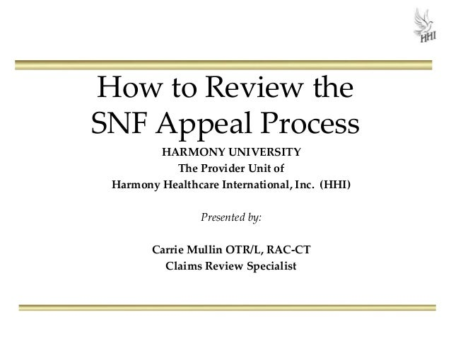 How to Review the SNF Appeal Process HARMONY UNIVERSITY The Provider Unit of Harmony Healthcare International, Inc. (HHI) ...
