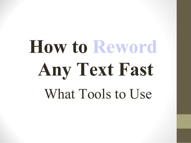How to reword