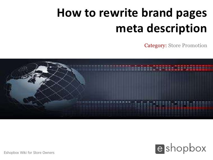 How to rewrite brand pages meta description