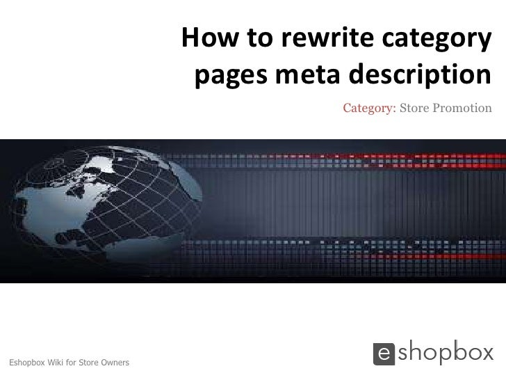 How to rewrite category                                  pages meta description                                           ...