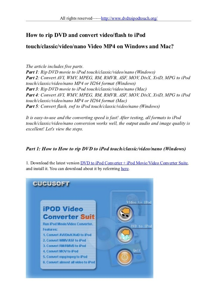 All rights reserved——http://www.dvdtoipodtouch.org/How to rip DVD and convert video/flash to iPodtouch/classic/video/nano ...
