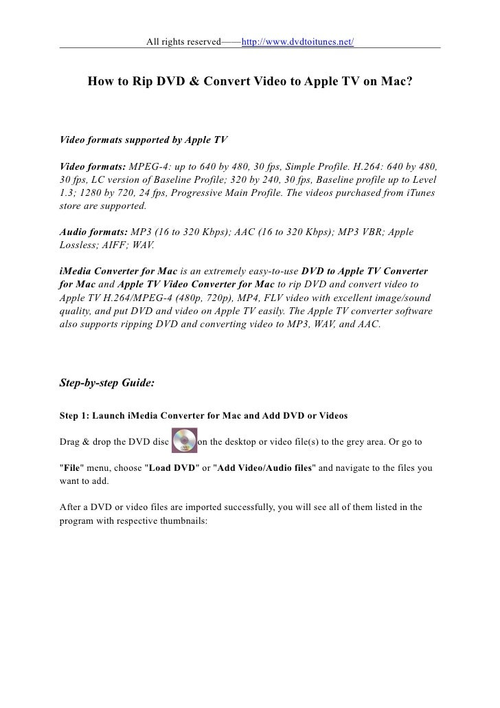 All rights reserved——http://www.dvdtoitunes.net/       How to Rip DVD & Convert Video to Apple TV on Mac?Video formats sup...