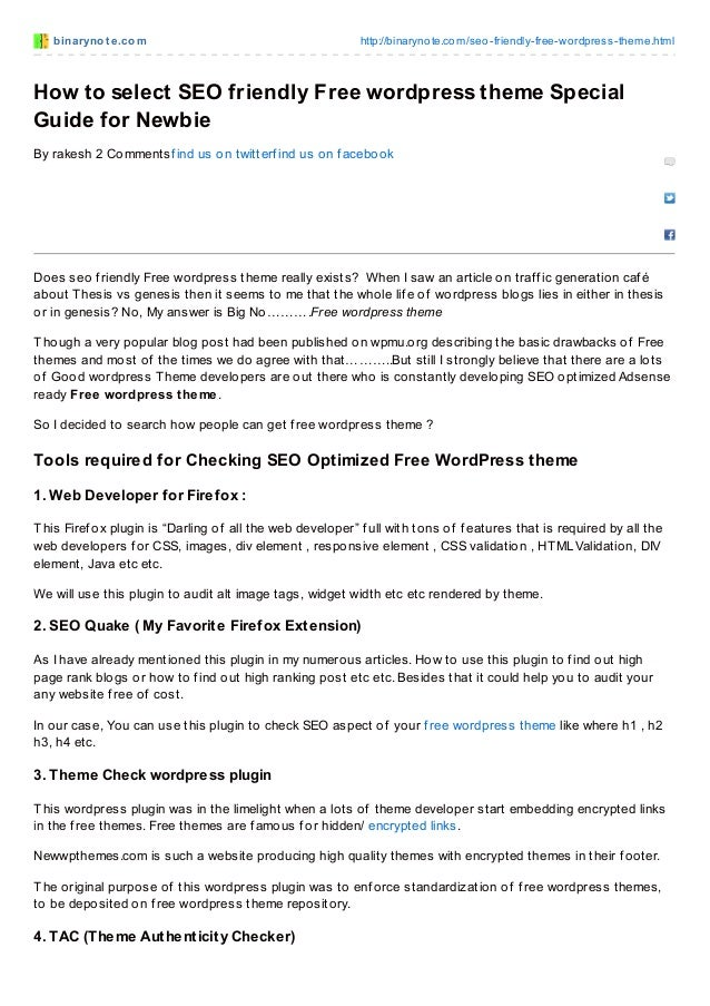 How to select_seo_friendly_free_wordpress_theme_special_guide_for_newbie