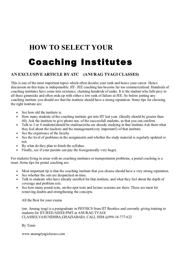 How to select ur coaching?