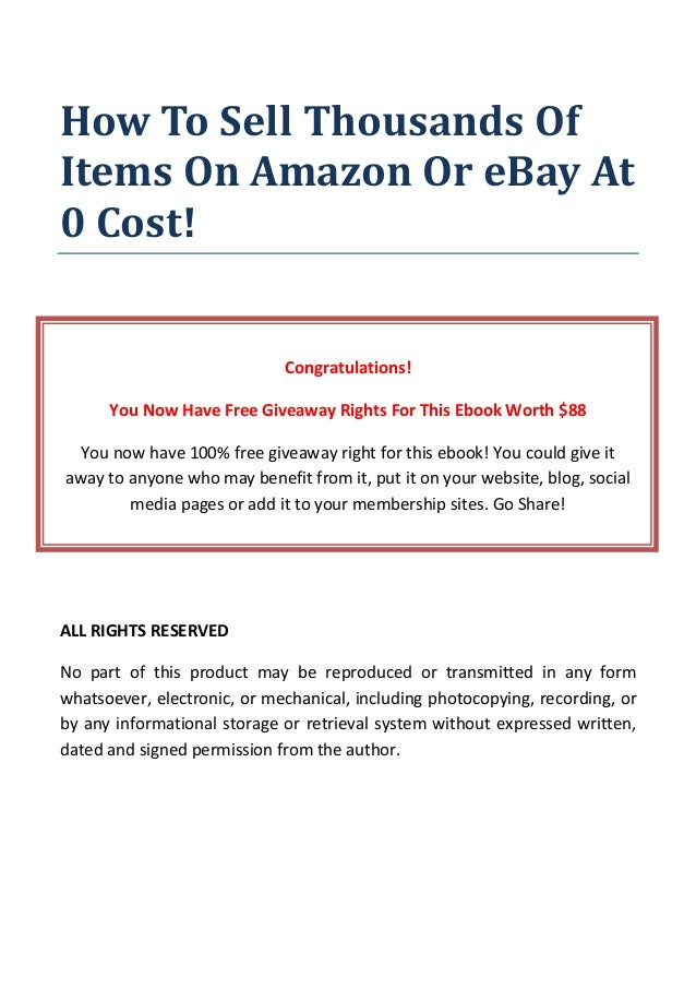 How To Sell Thousands Of Items On Amazon Or Ebay At 0 Cost