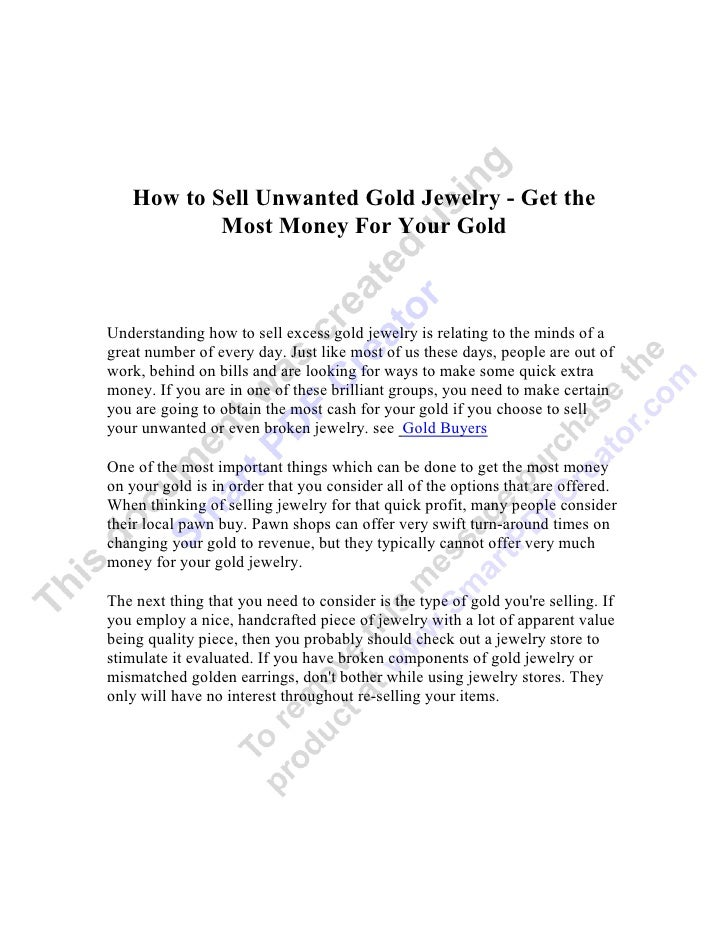 How to Sell Unwanted Gold Jewelry - Get the           Most Money For Your GoldUnderstanding how to sell excess gold jewelr...