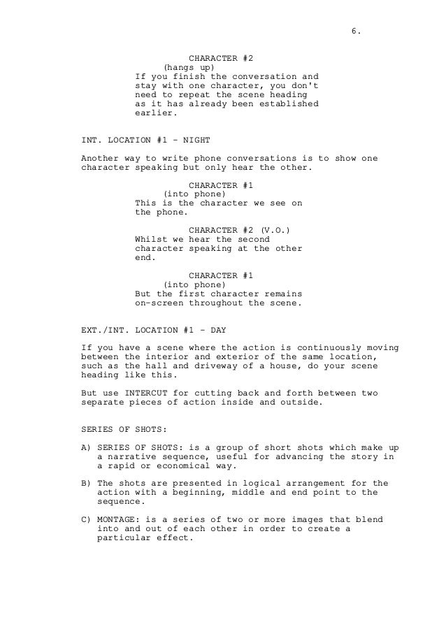 How to write a phone conversation in a screenplay