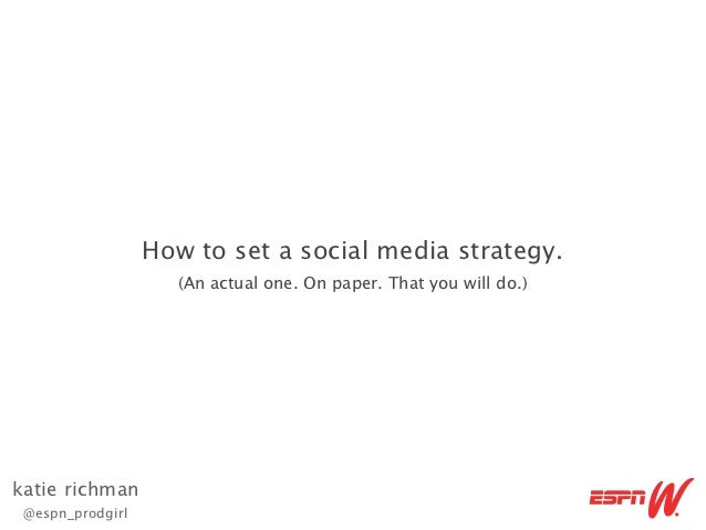 How to set a social media strategy.                    (An actual one. On paper. That you will do.)katie richman @espn_pro...