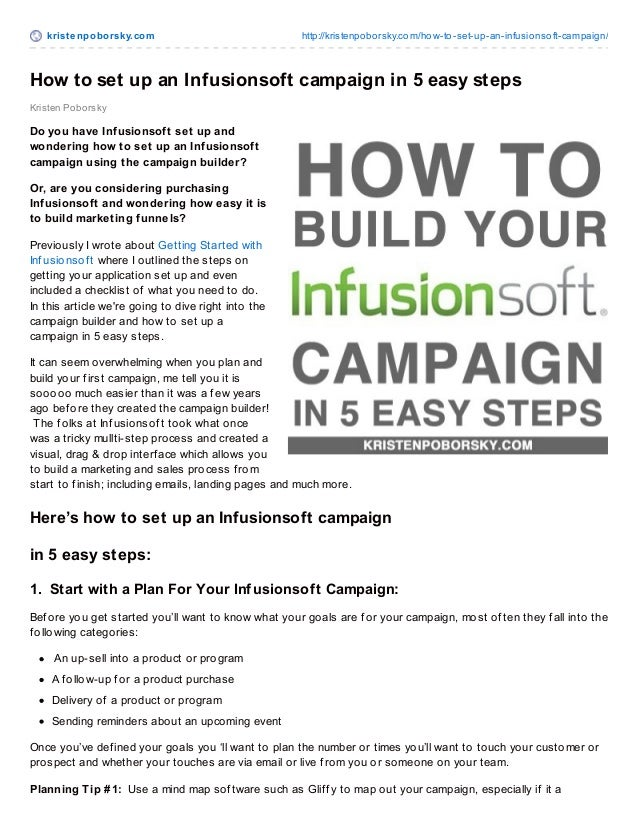 How to set up an infusionsoft campaign in 5 easy steps