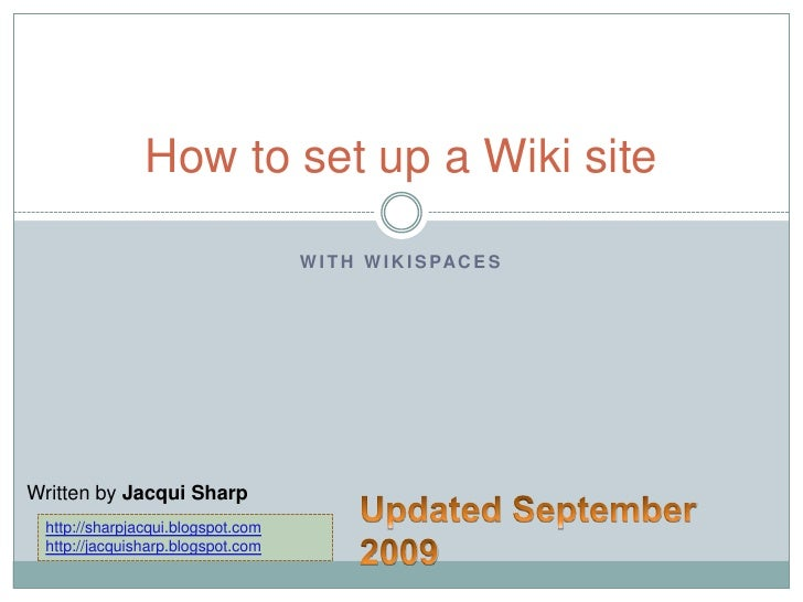 How To Set Up A Wiki Site (Updated)