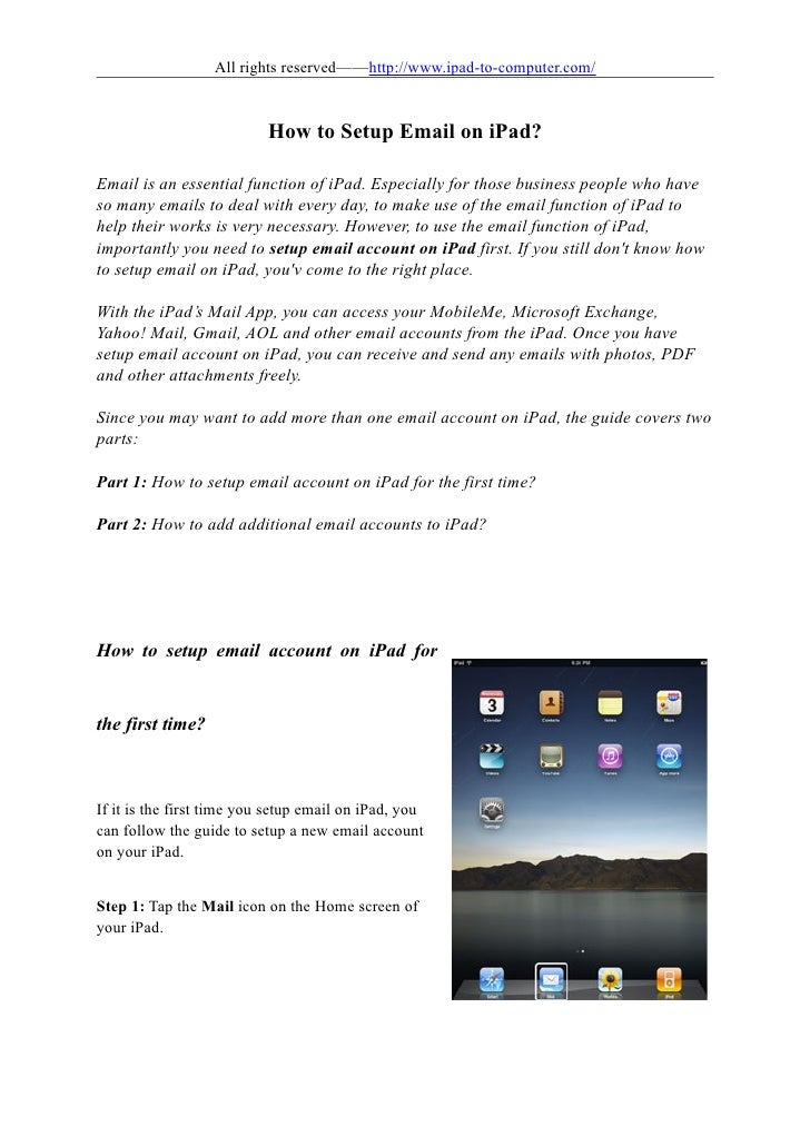 All rights reserved——http://www.ipad-to-computer.com/                           How to Setup Email on iPad?Email is an ess...