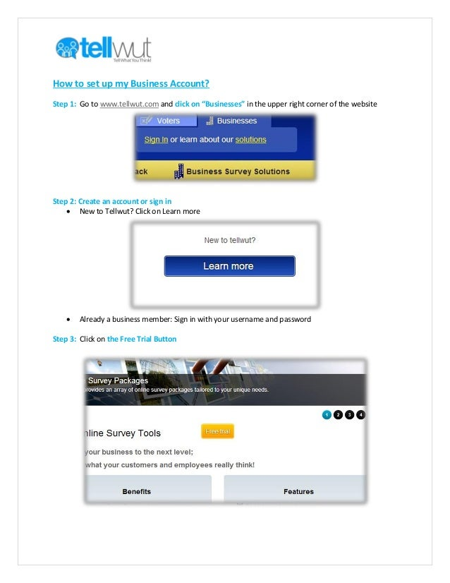 """How to set up my Business Account? Step 1: Go to www.tellwut.com and click on """"Businesses"""" in the upper right corner of th..."""