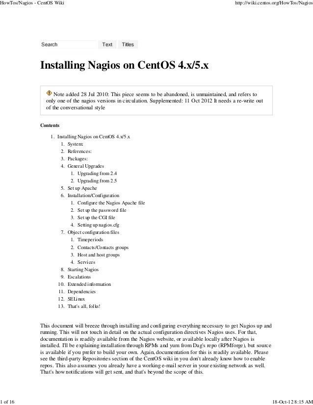How tos nagios - centos wiki