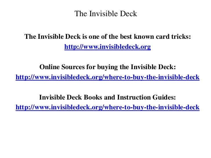 Invisible Deck - How to Stack The Deck