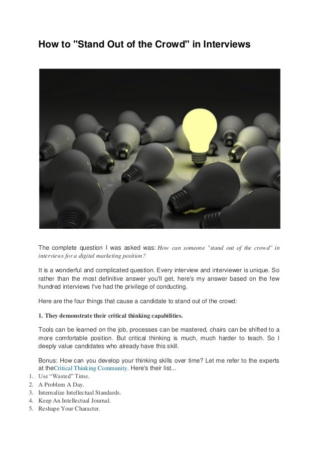 """How to """"Stand Out of the Crowd"""" in Interviews"""