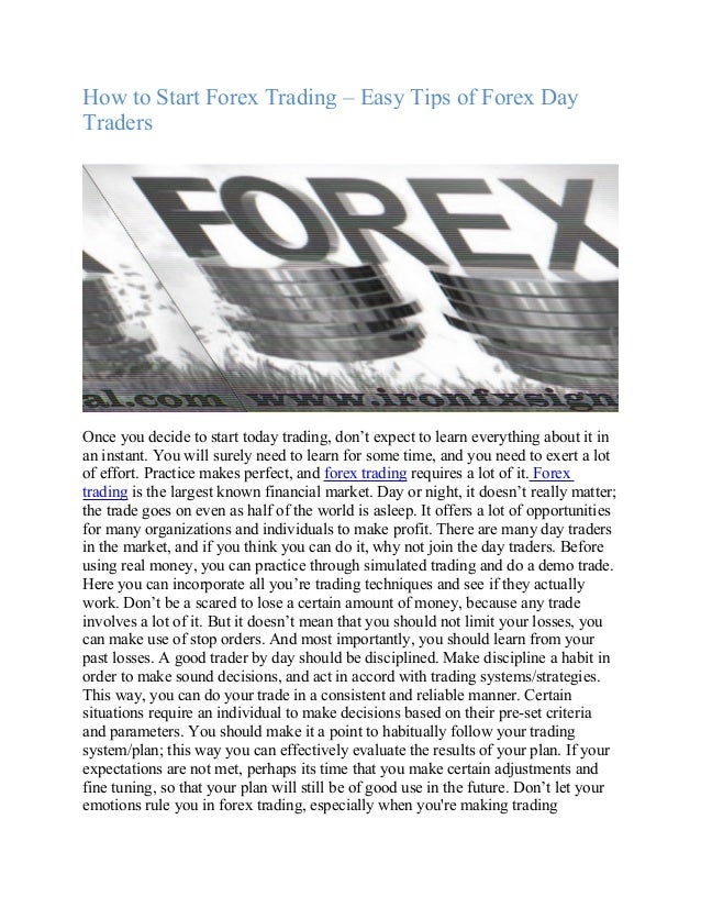 How to start forex trading