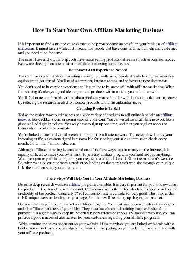 How To Start Your Own Affiliate Marketing Business If is important to find a mentor you can trust to help you become succe...