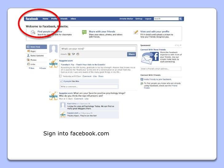 Sign into facebook.com<br />