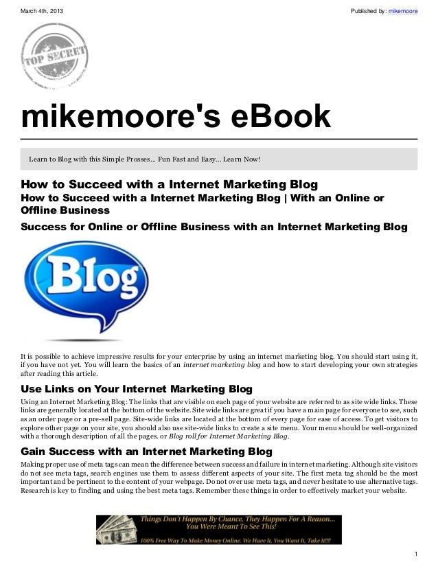 How to succeed with a internet marketing blog
