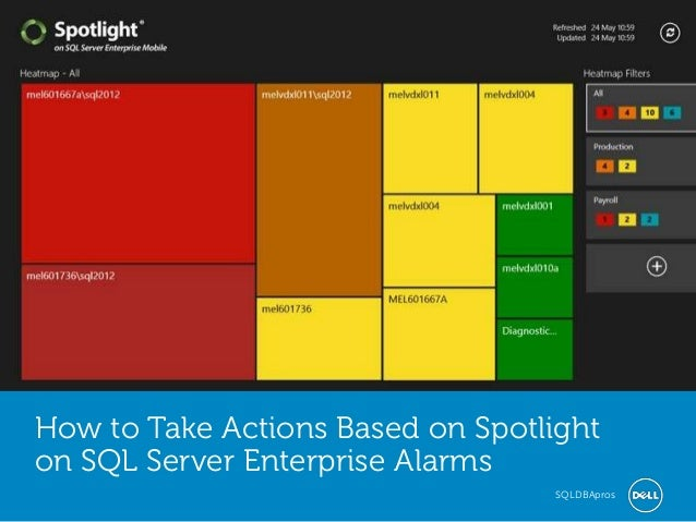 Global Marketing How to Take Actions Based on Spotlight on SQL Server Enterprise Alarms SQLDBApros