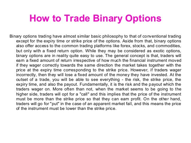 Best way to trade binary options
