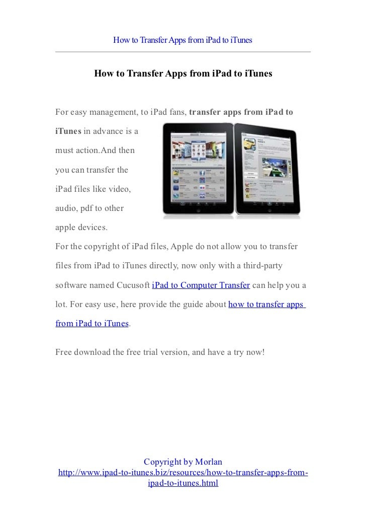 How to transfer apps from i pad to itunes