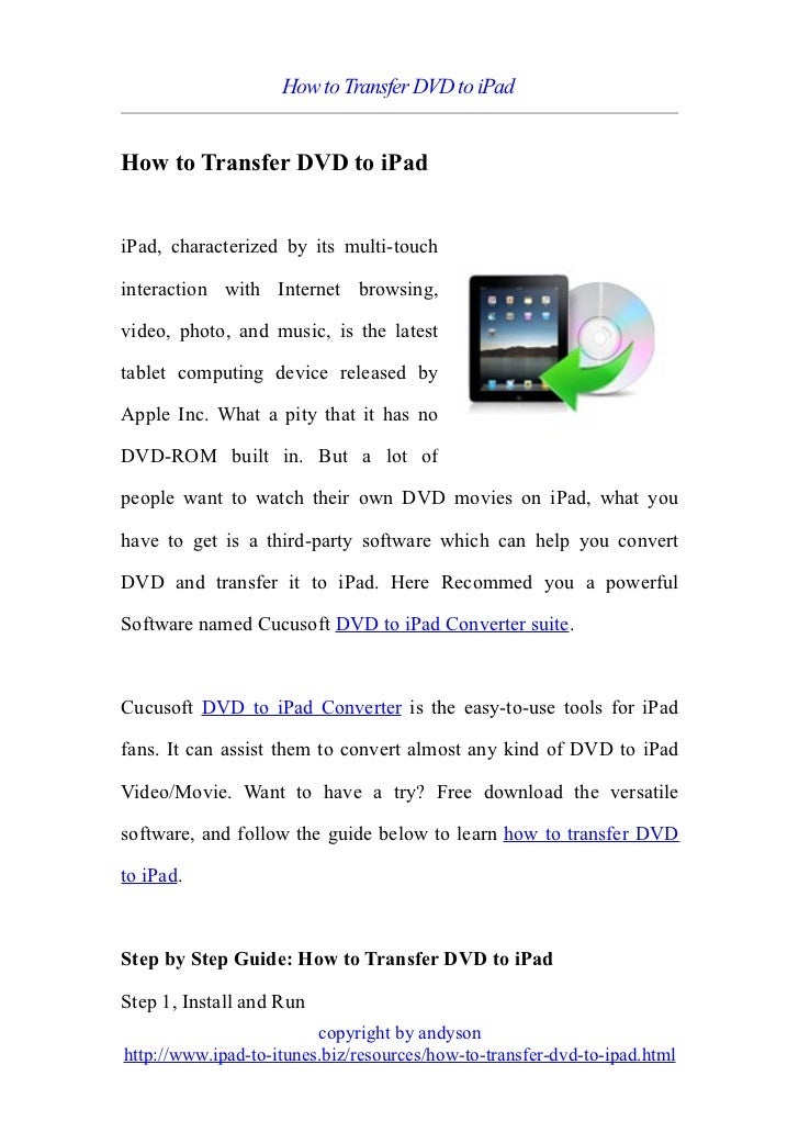 How to transfer dvd to i pad