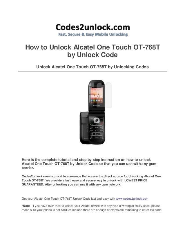 How to unlock alcatel one touch ot 768 t by unlock code