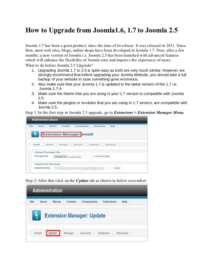 How to upgrade_from_joomla