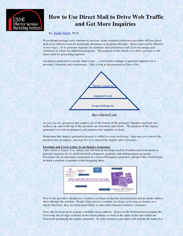 How to Use Direct Mail to Drive Web Traffic              and Get More Inquiries      By Ralph Elliott, Ph.D.  Even though ...