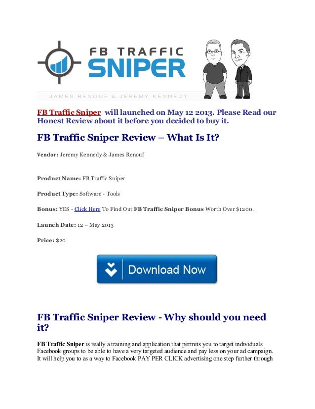 FB Traffic Sniper will launched on May 12 2013. Please Read ourHonest Review about it before you decided to buy it.FB Traf...