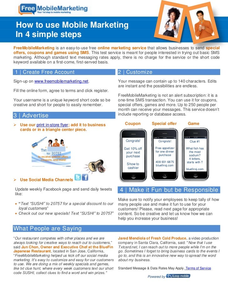 How to use Mobile Marketing In 4 simple stepsFreeMobileMarketing is an easy-to-use free online marketing service that allo...