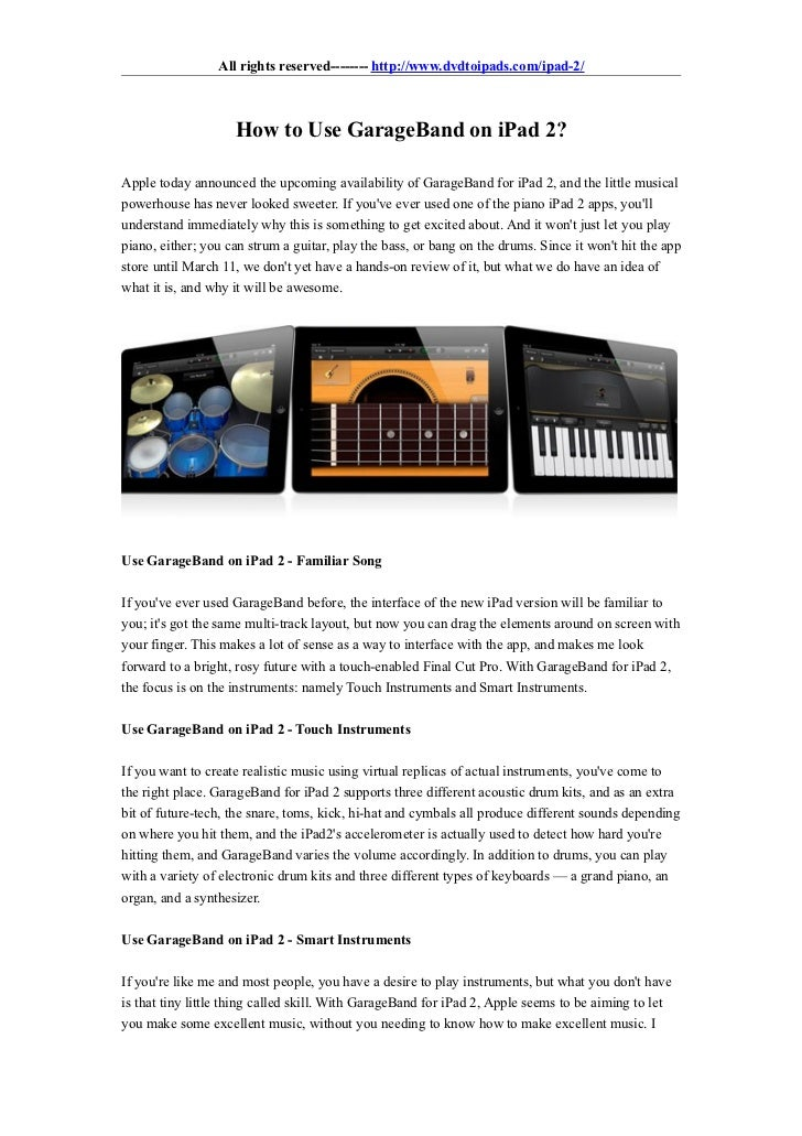 Ipad 1 vs Ipad 2 Garageband How to Use Garageband on Ipad 2