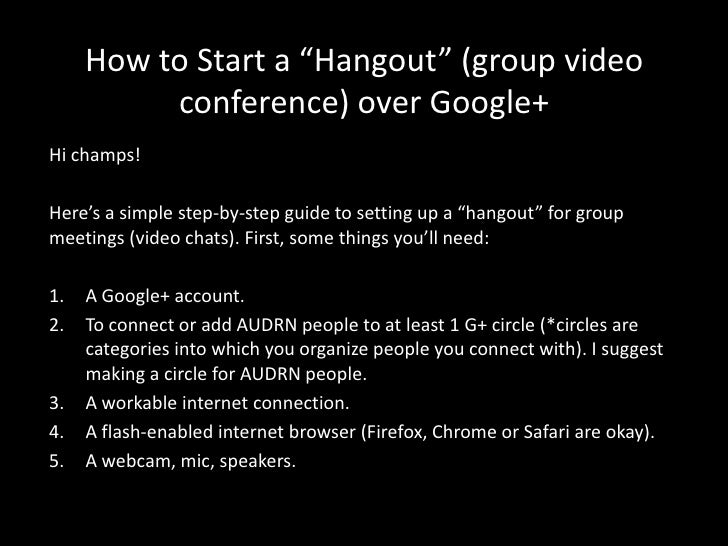 """How to Start a """"Hangout"""" (group video          conference) over Google+Hi champs!Here's a simple step-by-step guide to set..."""