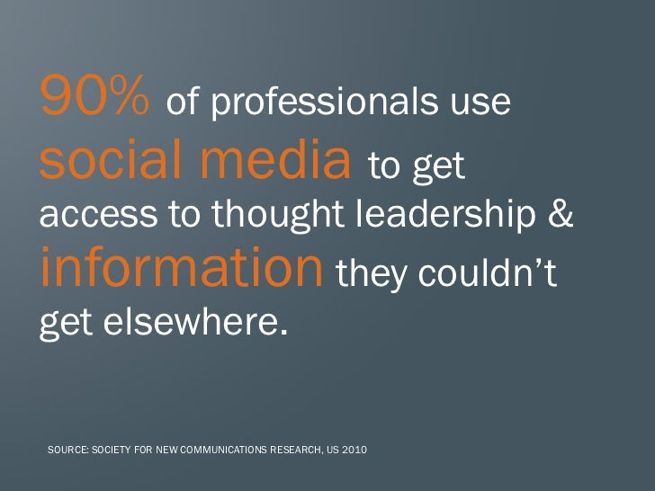 90% of professionals usesocial media to getaccess to thought leadership &information they couldn'tget elsewhere.SOURCE: SO...