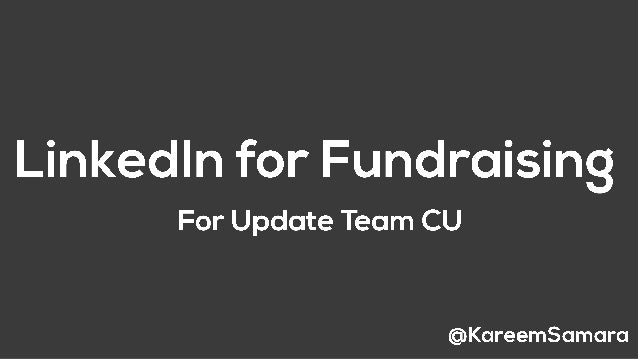 How to use linked in for fundraising