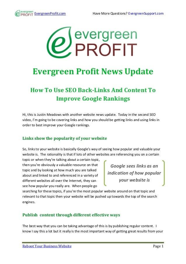 EvergreenProfit.com                    Have More Questions? EvergreenSupport.com      Evergreen Profit News Update     How...