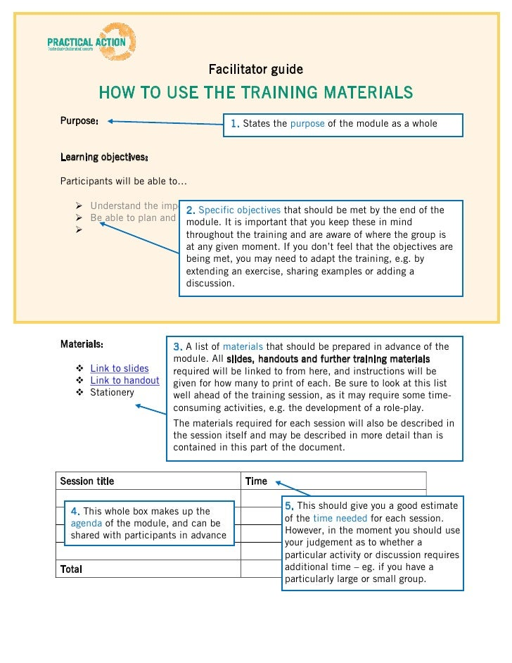 How to use the Training Materials