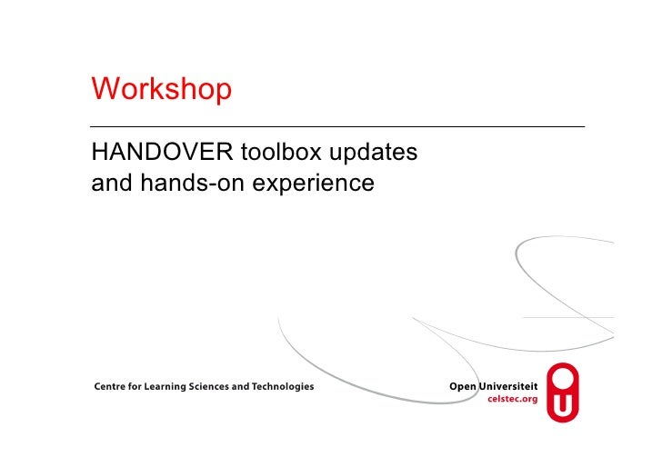 WorkshopHANDOVER toolbox updatesand hands-on experience
