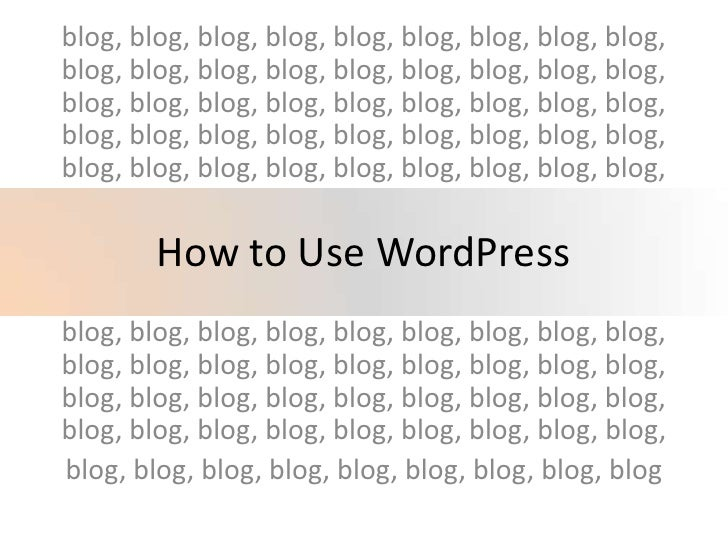How To Use Word Press