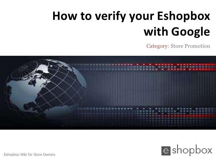 How to verify your Eshopbox                                            with Google                                        ...