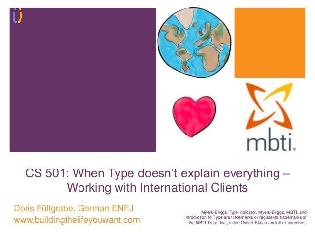"CS 501: When Type doesn""t explain everything – Working with International Clients Doris Füllgrabe, German ENFJ www.buildin..."
