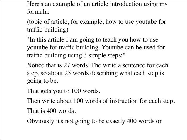How to write an article introduction