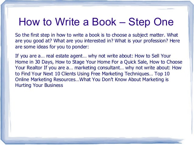 First steps in writing a book