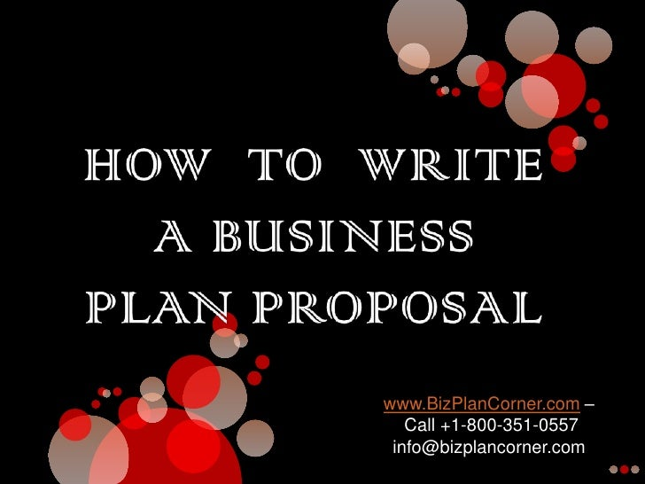 How to write a proposal for a business plan