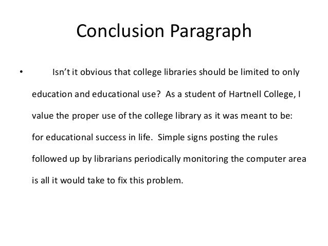 A concluding paragraph in an essay